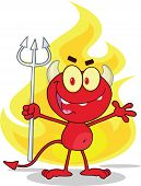 Cute Little Red Devil With A Pitchfork In Front Fire