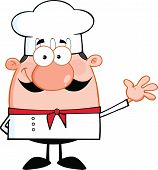 Little Chef Cartoon Character Waving For Greeting