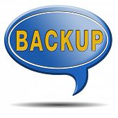 Backup data and software on copy in the cloud on a harddrive disk on a computer or server for file s