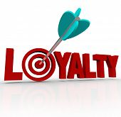 The word Loyalty in 3D letters with an arrow in a target bulls-eye to illustrate a good business reputation and customer return purchases