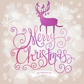 Stylish Merry Christmas card in modern violet colors. Deer silhouette on Merry Christmas text in vec