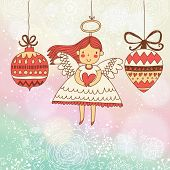 Stylish Christmas card in vector. Bright holiday background with small cute angel in New Year toys i