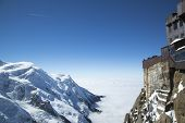 Chamonix terrace overlooking Mont Blanc massif at the mountain top station of the Aiguille du Midi