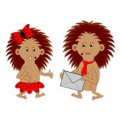 A Couple Of Funny Cartoon Hedgehogs With A Letter