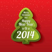 Merry Christmas green tree greeting card. 2014.
