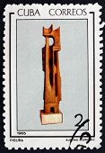 Postage Stamp Cuba 1965 Abstract Wood Carving By Eugenio Rodrigu