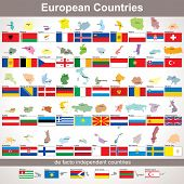 European Countries with Flags. Vector Collection