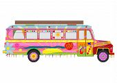 stock photo of woodstock  - Silhouette of colorful hippie school bus on a white background - JPG