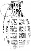 Tag Or Word Cloud War Or Terrorism Related In Shape Of Grenade