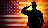 stock photo of security  - Proud saluting male army soldier on grungy american flag background - JPG