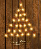 stock photo of pine-needle  - Christmas Tree Made of Christmas lights - JPG