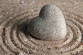 foto of pumice-stone  - Grey zen stone in shape of heart - JPG