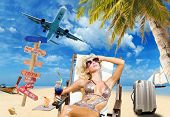 stock photo of bimbo  - Young woman on the beach Travel concept - JPG