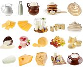collection set of dairy milk produce, cheese,curd, cottage close up isolated on white background