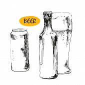 image of drawing beer  - Glass of beer - JPG