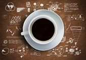 Close up of cup of coffee on table with sketches on background