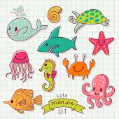 Funny color set with sea live. Cute marine set in vector. Whale, octopus, jellyfish, fishes, seahorse, turtle, starfish and crab in cartoon card