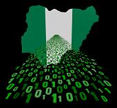 Nigeria map flag with binary foreground illustration