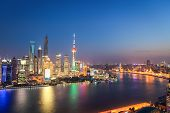 Shanghai Skyline In Nightfall