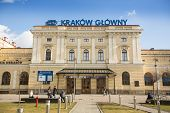 KRAKOW, POLAND - FEB 17, 2014: Railway station Krakow Glowny Osobowy is the largest and the most centrally located railway station in Krakow. Constructed between 1844-1847 (architect: Rosenbaum)