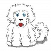 Cute Fluffy Cartoon Dog.