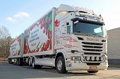 White Scania Truck And Full Trailer