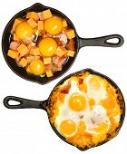 Before After Baked Eggs and Sausage with Cheese in Skillets Over White.