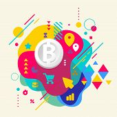 picture of bit coin  - Bit coin on abstract colorful spotted background with different elements - JPG