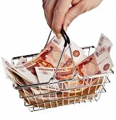 One Million Russian  Banknotes Rubles of the Russian Federation  in your shopping basket cart - isol
