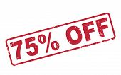 Stamp 75 Percent Off With Red Text On White