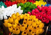 Traditional Wooden Colorful Tulips In Souvenir Shop. Amsterdam, Netherlands