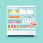 image of refrigerator  - Supermarket thermocool refrigerator shelves food collection with milk fish meat cheese chicken sausage cake flat vector illustration - JPG