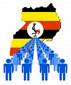 Lines of people with Uganda map flag vector illustration