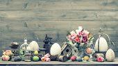 Easter Decoration With Pink Tulips And Eggs