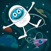 picture of starship  - Cartoon illustration of astronaut in outer space - JPG