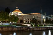 stock photo of singapore night  - Night view of the Parliament building in Singapore - JPG