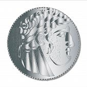 picture of judas  - A single shekel silver coin as used in the Times of the Roman Empire and supposedly taken by Judas to betray Jesus Christ - JPG