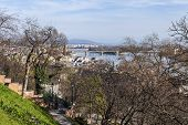 Budapest, Hungary. View of Danube and Pesht from Buda Castle