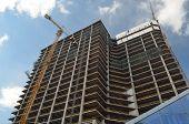 KIEV, UKRAINE -APR 2, 2014: Downtown of Kiev.Building construction of huge office centre..April 2, 2014 Kiev, Ukraine