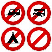 stock photo of camper  - Circular warning sign with camper and tentCircular warning sign with camper and tent - JPG