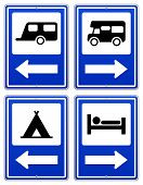pic of camper-van  - Road sign set with arrow under RV and camper - JPG