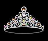 picture of tiara  - illustration crown tiara women with glittering precious stones - JPG