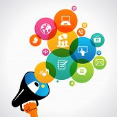 Hand holding a megaphone promotion social media icons. Concept communications, network