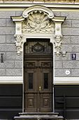 Close-up Of Door Of Art Nouveau (jugendstil) Building, Riga Latvia