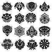 image of organist  - Set of graphic flowers - JPG