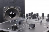 Dj Mixer And Loudspeaker In Studio