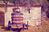 foto of wine-press  - Antique Screw Press for Pressing Grapes Instagram Effect - JPG