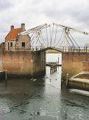 Bascule Bridge And Pierl In Heusden. Netherlands