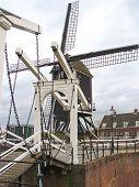 Bascule Bridge And Windmill In Heusden. Netherlands
