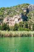 stock photo of dalyan  - Lycian tombs on the Dalyan River in Turkey - JPG